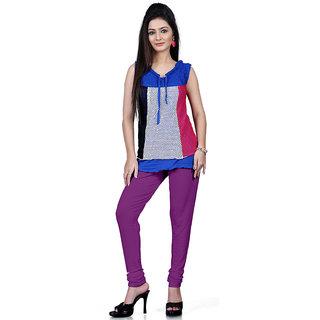DesiButiks Purple Coloured Cotton Lycra Leggings BBL1023