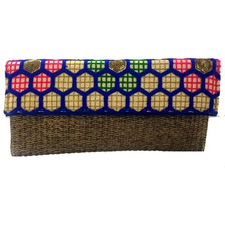 Ethnic designer clutch with small sling