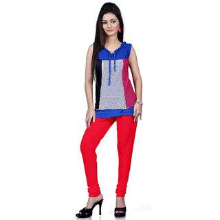 DesiButiks Red Coloured Cotton Lycra Leggings BBL1025