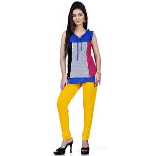 DesiButiks Yellow Coloured Cotton Lycra Leggings BBL1030