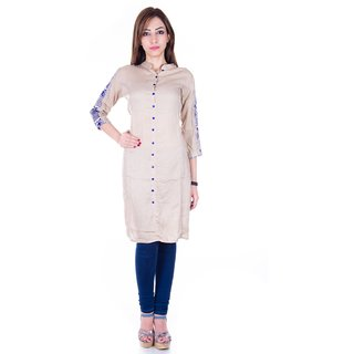 Rayon Kurti with embroidered sleeves