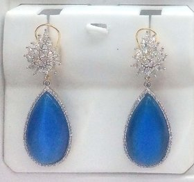 Mesmeric Blue Cz Chendelier Earing