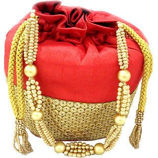 Maison Ethnic red potli bag