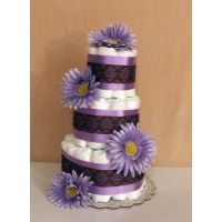 Purple Flower and Lace Three Tier Diaper Cake