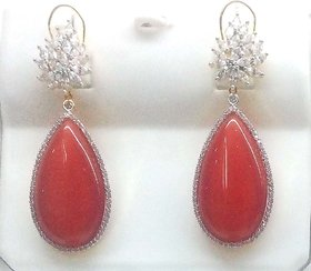 Mesmeric Orange And White Cz Chandelier Earing