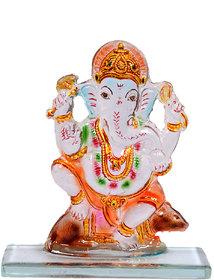Kanch Mall Glass Multicolour Powerful Ganesha Idol (Kanch 3)