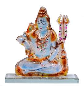 Kanch Mall Glass Multicolour Serene Shiva Idol (Kanch 4)