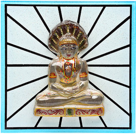 Kanch Mall Glass Multicolour Peaceful Tirthankar Idol (Kanch 5)