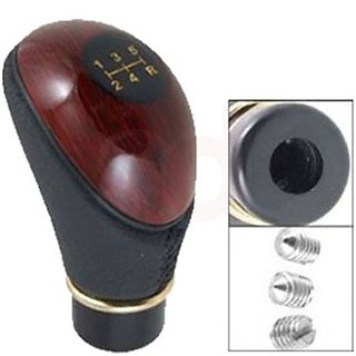 Takecare Leather Plastic Shift Lever Wooden Gear Knob For Maruti Alto K 10-2014