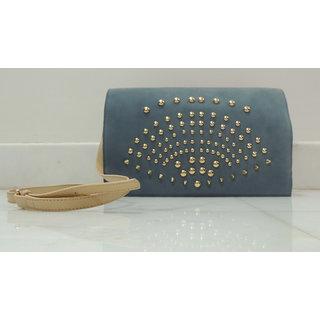 Nine G Blue Gold Studded Leather Handbag