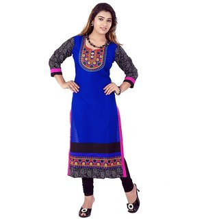 Blue Printed Cotton Kurti for women