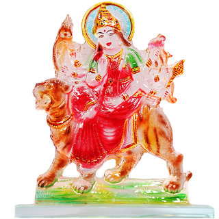 Kanch Mall Glass Multicolour Religious Ambe Maa Idol (Kanch 35)