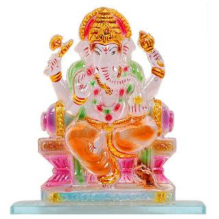 Kanch Mall Glass Multicolour Energetic Ganesha Idol (Kanch 37)