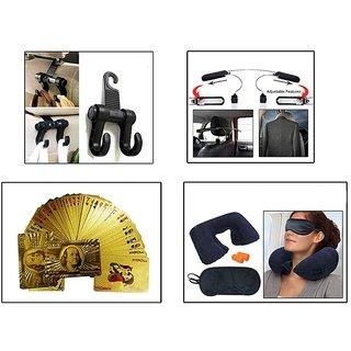 Takecare Combo Luggage Hanger Hook, 24 K Poker Cards, Accedre Travel Kit & Coat Hanger With Adjustable Hooks For Toyota Innova New Type-3