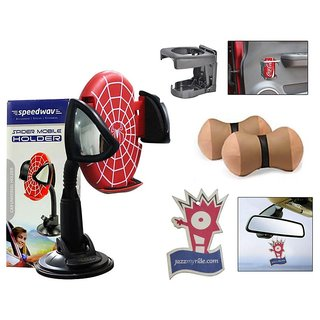 Takecare Combo Of Spider Mobile Holder-Red+Car Drink Holder+Neck Cushion Beige+Jazzy Perfume For Scoda Yeti