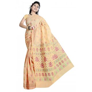 srujan textiles lakdipatta orange printed cotton saree