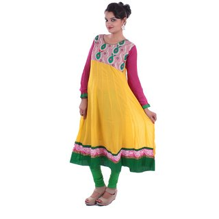 Rasika Yellow Full Flow Anarkali Kurti