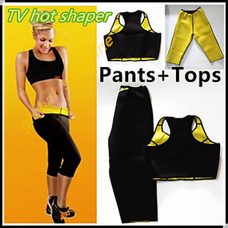 UNIQUE-GYM SUIT -HOT SHAPER- TOP +PANTS - MAKE YOU SWEAT  BURN YOUR FAT- M -2XL