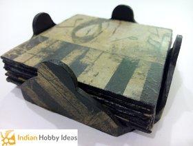 Wooden Decopage Square Tea Coaster Set
