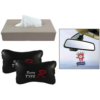 Takecare Combo Of Tissue Holder Black+Typer Pillow+Jazzy Hanging Perfume For Ford Fiests New 2013-2015