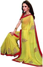 Sudarshan Silks Red Chanderi Self Design Saree With Blouse