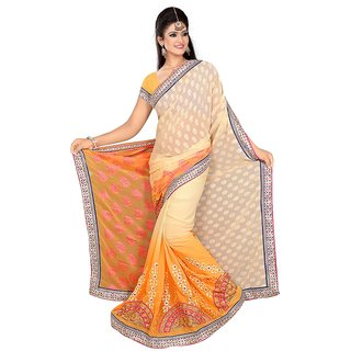 Yellow and cream color georgette buttiwork saree with blause