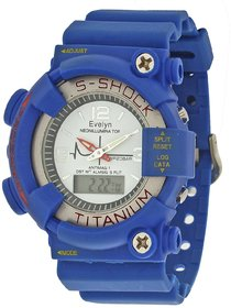 Evelyn Round Dial Blue Pu Strap Quartz Watch For Men
