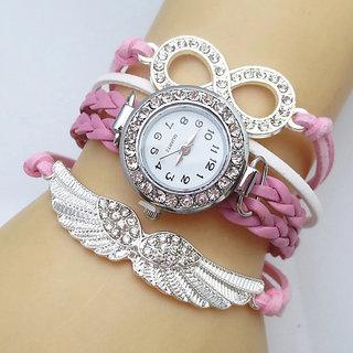 Pink Leather Vogue Bracelet Watch - 821
