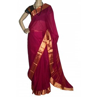 7744d527e33a3 Buy Touch Of Cotton Plain Cotton Saree Pink with zari border Online - Get  13% Off