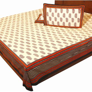 Hand Block Print Pure Cotton Double Bed Sheet Home Furnishing -303
