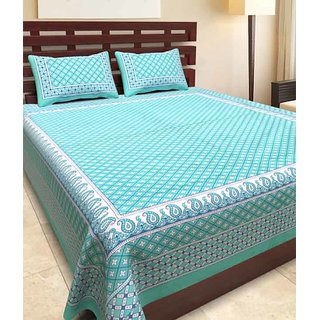 Kanhaa Cotton Double Bedsheet with 2 Pillow Covers King Size Floral Sea Green