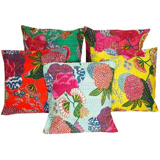 Jaipuri Kantha work with Floral work design Cushion Cover 5 Pc. Set - 123