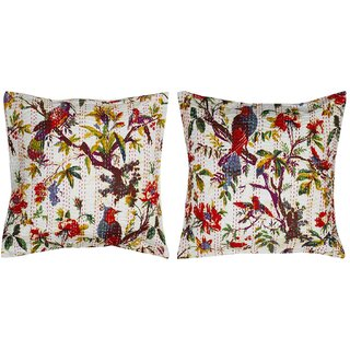 Jaipuri Kantha work with Birds Life work design Cushion Cover Set - 212