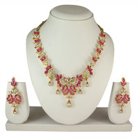 Atasi International Gold Plated Pink Alloy Necklace Set For Women