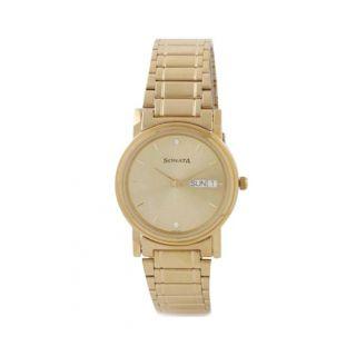 Sonata Quartz Gold Round Men Watch 1141YM10