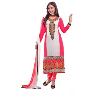 Divisha Fashions Pink And White  Faux Georgette Dress Material With Dupatta