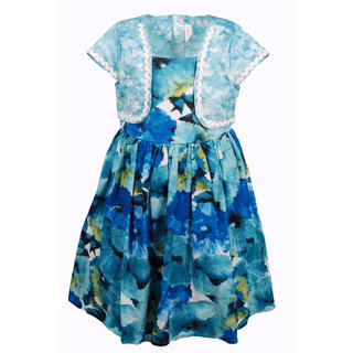 Euphoria Party wear Blue Print Dress