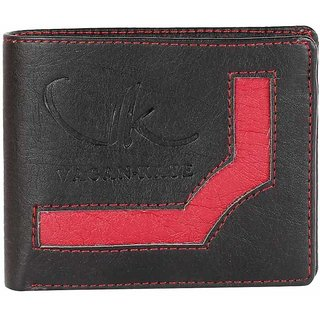 VAGAN-KATE UPPER DESIGN BLACK LEATHER WALLET FOR MEN (Synthetic leather/Rexine)