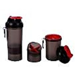 Shake Shaker Bottle  With 2 Storage Boxes - Red