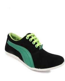 Punjab Shoes Black  Green Casual Shoes