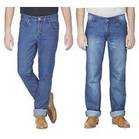 Wajbee Pack of 2 Men's Multicolor Comfort Fit Jeans