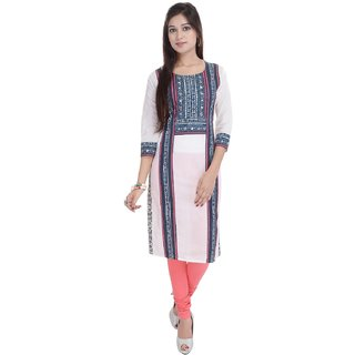 Vasavi Cotton Kurti White Colour