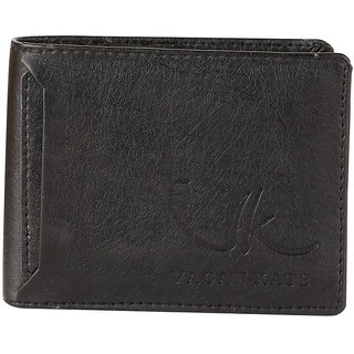 Vagan-kate outer card black leather wallet for men