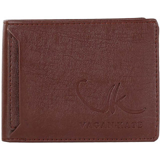 Vagan-kate outer card brown leather wallet for men
