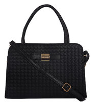 Lino Perros Intricate Leatherite Black Handbag