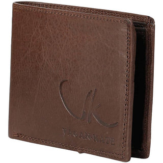 Vagan-kate double stich brown leather wallet for men