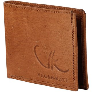 Vagan-kate double stich tan leather wallet for men