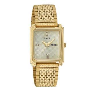 Sonata Quartz Gold Square Men Watch 7053YM07