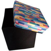 Homefab's Designer Aqua Multi Colour Foldable Storage Stool (STOOL 013)