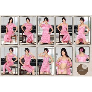 ed693b1836 Womens Sleep Wear 12p Bra Panty Top Skirt Capri Pyjama Babydoll Nighty OC  Pink